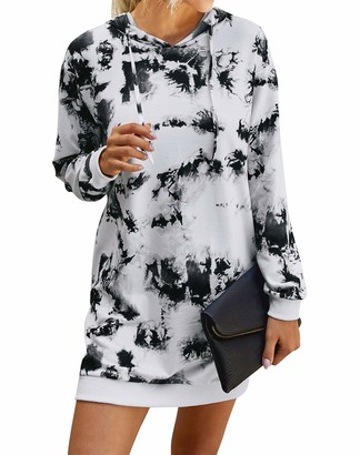Edjude Women's Tie Dye Sweatshirt Long Sleeve Casual Dress Long Autumn Winter Jumpers Hooded Pullover with Pocket White M(12-14)