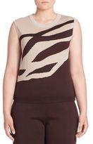 Stizzoli, Plus Size Wool Zebra-Print Shell