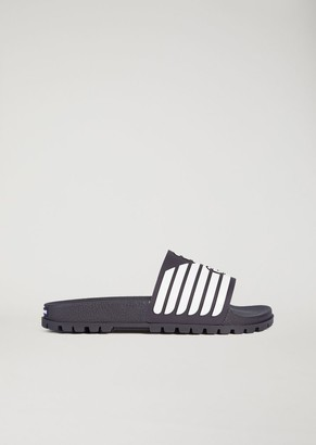 Emporio Armani Rubber Sliders With Logo Detail