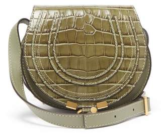 Chloé Marcie Mini Crocodile Effect Leather Bag - Womens - Khaki