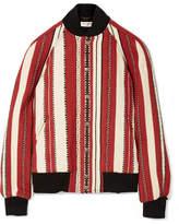 Saint Laurent Teddy Wool And Cotton-blend Bomber Jacket - Brick