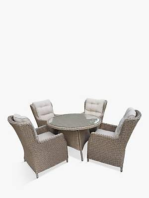 LG Electronics Outdoor Saigon 4 Seat Garden Dining Table & Chairs Set, Natural