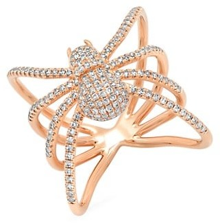 Samira 13 18K Rose Gold Diamond Pave Spider Ring