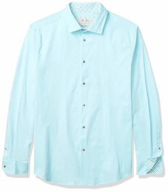 Azaro Uomo Men's Long Sleeve Linen Cotton Blend Slim Fit Stretchy Button Up Chambray Shirt