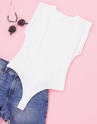 ASOS DESIGN sleeveless t-shirt body with roll sleeve detail in white