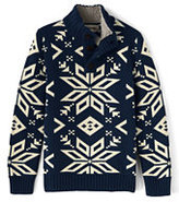 Lands' End Little Boys Snowflake Button Mock Neck Sweater-Midnight Navy Snowflake