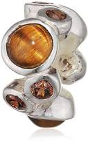 Lovelinks 925 Sterling Silver Bubble Brown Cubic Zirconia and Glass Bead
