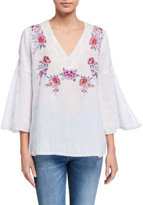 Johnny Was Caelynn Embroidered Front Swing-Sleeve Linen Top