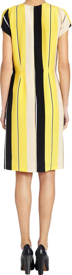 Fendi Striped Cap Sleeve Dress