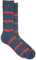 Barneys New York MEN'S STRIPED COTTON MID-CALF SOCKS-BLUE