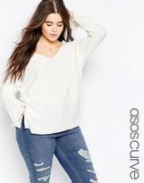 Asos Sweater With V Neck And Split In Natural Yarn