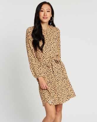 Dorothy Perkins Abstract Print LS Fit-and-Flare Dress