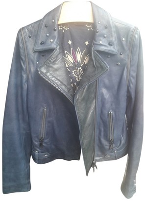 Le Sentier Blue Leather Leather Jacket for Women