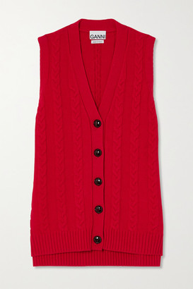 Ganni Cable-knit Cotton-blend Vest - Red