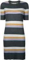 MAISON KITSUNÉ striped ribbed-knit dress - women - Nylon/Polyester/Acetate - S