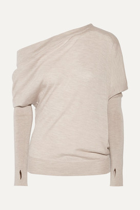 Tom Ford One-shoulder Cashmere And Silk-blend Sweater - Mushroom