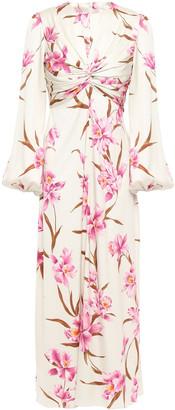 Zimmermann Corsage Knot Floral-print Stretch-silk Twill Midi Dress