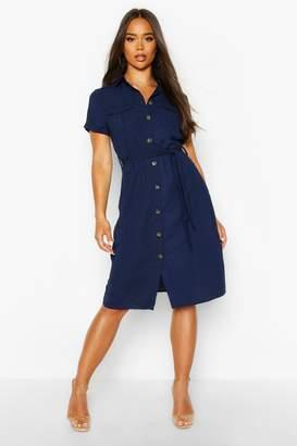 boohoo Woven Button Through Tie Waist Shirt Dress