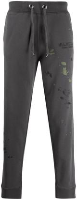 Helmut Lang paint splatter track pants