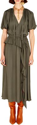 Ulla Johnson Women's Leah Short Sleeve Midi Dress - Green/white - Moda Operandi