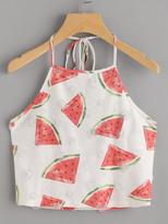 Shein Watermelon Print Frayed Dot Detail Halter Top