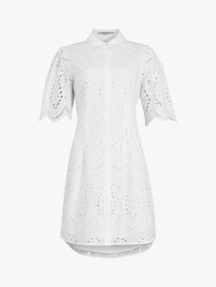 AllSaints Cecee Lace Mini Shirt Dress, White