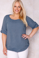 Yours Clothing PAPRIKA Blue Cotton & Linen Mix Woven Top With Pleated Neckline - Made In Italy