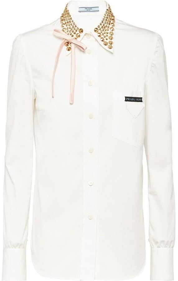 Prada studded collar shirt