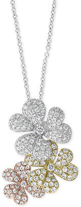 "Effy Diamond Tri-Tone Flower 18"" Pendant Necklace (1-1/2 ct. t.w.) in 14k Gold, 14k White Gold & 14k Rose Gold"