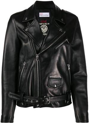 RED Valentino x Poppy's Papercuts RED(V) hands embroidery biker jacket