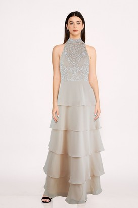 Little Mistress Bridesmaid Lila Beige Sequin Tiered Hem Maxi Dress