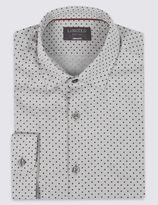Marks and Spencer Pure Cotton Spotted Long Sleeve Shirt