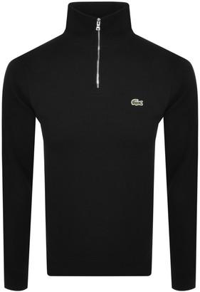 Lacoste Half Zip Logo Jumper Black