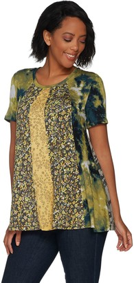 Logo by Lori Goldstein Multi Printed Paneled Top with Pockets