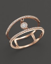 Bloomingdale's Diamond Double Row Ring with Cluster Center in 14K Rose Gold, .20 ct. t.w. - 100% Exclusive