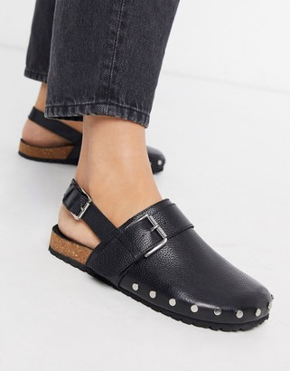 Asos DESIGN Millennium leather studded flat shoes in black