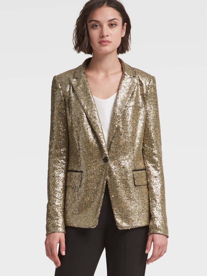 DKNY Gold Sequined Blazer