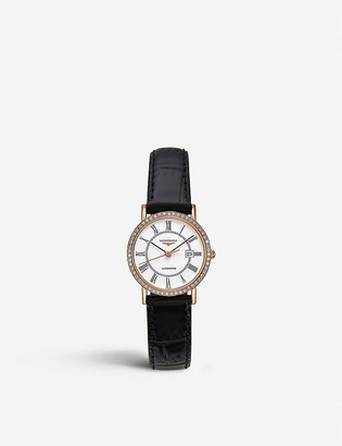 Longines L4.378.9.11.0 Elegant Collection diamond, 18ct rose gold-plated stainless steel and leather watch
