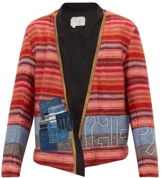 Greg Lauren Patchwork Kimono-style Alpaca-blend Jacket - Red