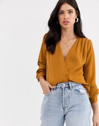 Vero Moda volume sleeve wrap blouse