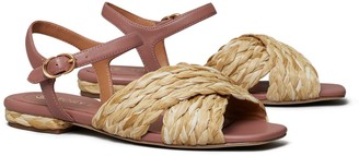Tory Burch Kira Quilted Raffia Ankle-Strap Sandal