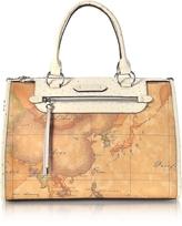 Alviero Martini Australia Geo Print Tote w/Cream Ostrich Print Leather Handles