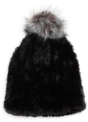 RENVY Faux Fur Pom-Pom Beanie