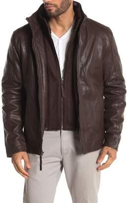 Bagatelle Funnel Neck Faux Fur Trim Leather Jacket