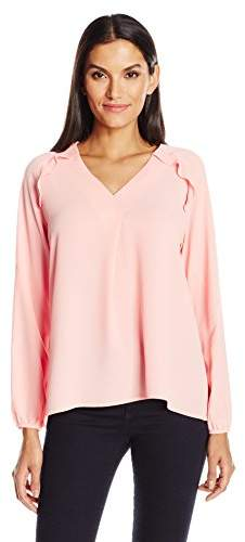 NY Collection Women's Solid Long Sleeve Pullover with Ruffle Raglan