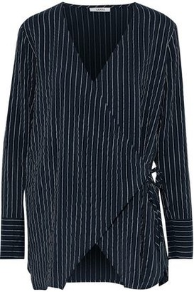 Ganni Lynch Pinstriped Silk-blend Seersucker Wrap Top