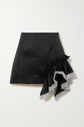 Area Crystal-embellished Ruffled Satin Mini Skirt - Black