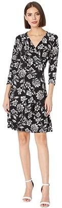 Karen Kane Faux Wrap Drape Dress (Print) Women's Dress