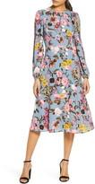 Eliza J Floral Print Long Sleeve Crepe Midi Dress
