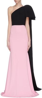 Alex Perry Colourblock asymmetric shoulder drape gown